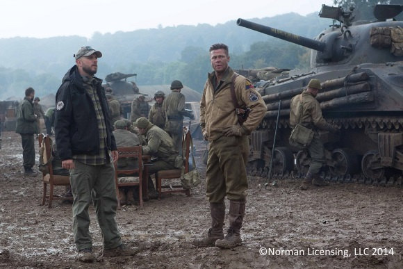 David Ayer (Director) with Wardaddy (Brad Pitt) in Columbia Pictures' FURY.